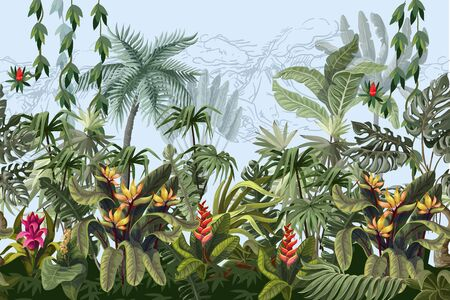 Seamless border with jungle trees and flowers. Vector