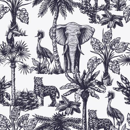 Nahtloses Muster mit grafischen tropischen Bäumen und Dschungeltieren. Vektor.