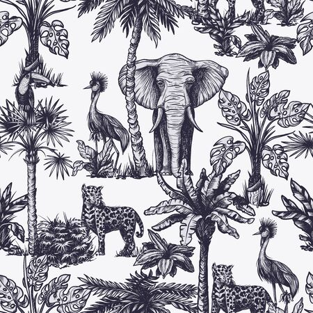 Seamless pattern with graphic tropical treees and jungle animals. Vector. Stock Illustratie