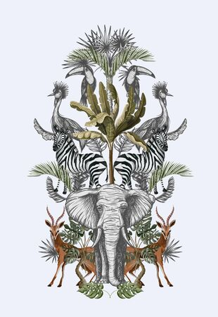 Symmetry composition with tropical trees and animals. Vector.