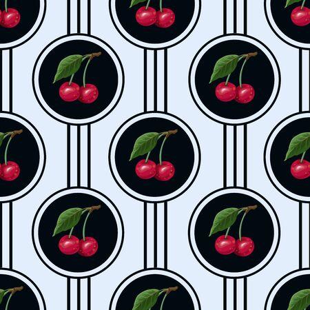 Seamless pattern with cherries in the circles. Vector. Illusztráció