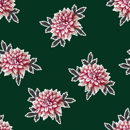 Seamless pattern with dahlia flowers. Vector. Ilustração