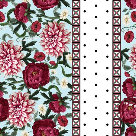 Seamless pattern with dahlia, peonies, wild flowers and geometrical elements. Vector Ilustração