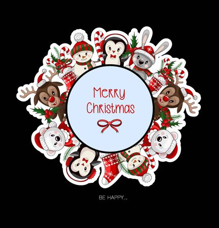 Postcard with cute baby animals on Christmas wear. Vector.