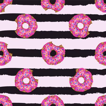 Seamless pattern with yummy donuts on striped background. Vector.