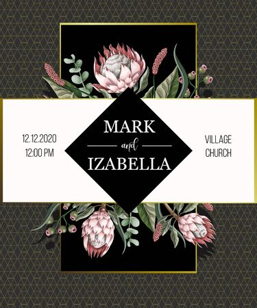 Wedding invitation with leaves, protean flowers, succulent and golden elements in watercolor style. Иллюстрация