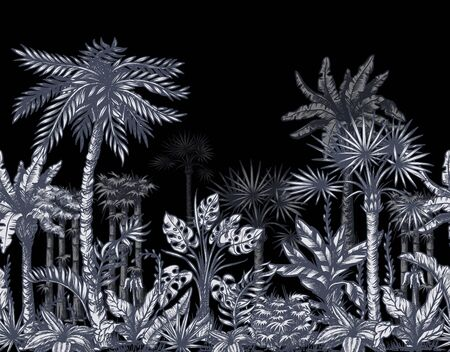 Seamless border with graphic tropical trees such as palm, banana, monstera for interior design. Vector