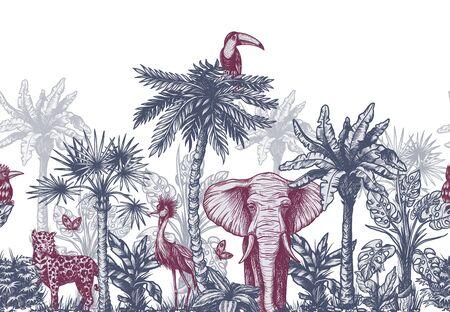 Nahtlose Grenze mit grafischen tropischen Bäumen wie Palmen, Bananen und Dschungeltieren. Vektor. Vektorgrafik