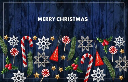 Christmas banner or postcard with fir, star and candies. Vector.
