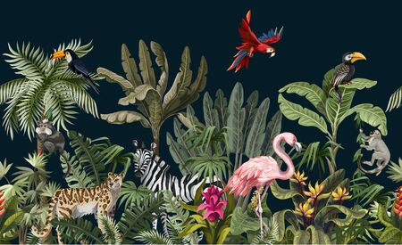 Seamless border with jungle animals, flowers and trees. Vector