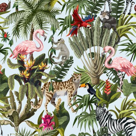 Seamless pattern with jungle animals, flowers and trees. Vector Stock Illustratie