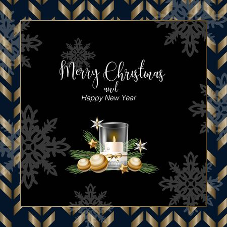 Christmas banner or postcard with candle. Vector