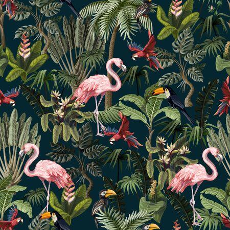 Motif harmonieux d'animaux de la jungle, de fleurs et d'arbres. Vecteur.