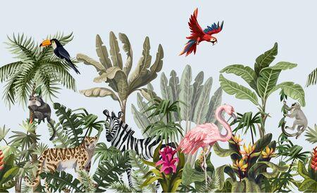 Bordo senza soluzione di continuità con animali della giungla, fiori e alberi. Vettore.
