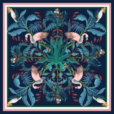 Design scarf with tropical trees, flamingo and parrots. Vector.
