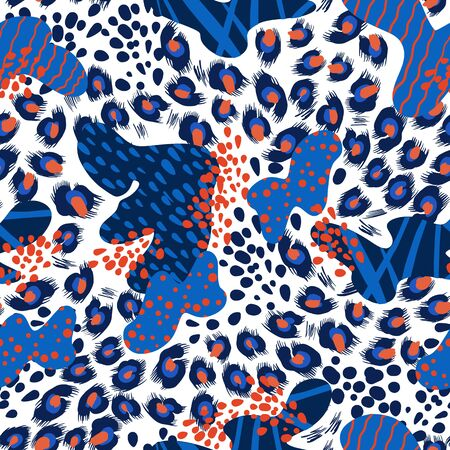 Seamless leopard skin pattern with abstract elements. Vector.