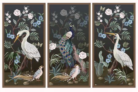 Folding screen in chinoiserie style with peacock and peonies