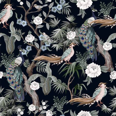 Seamless pattern in chinoiserie style with storks, birds and peonies. Vector,