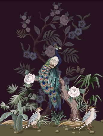 Border in chinoiserie style with peacock and peonies. Vector. Illustration