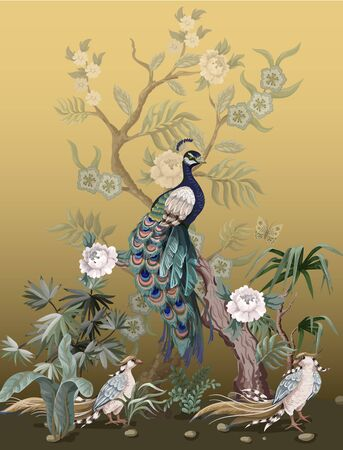 Border w stylu chinoiserie z czaplami, pawiami i peoniami. Wektor.