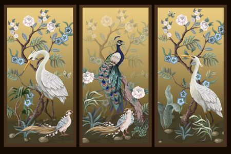 Folding screen in chinoiserie style with peacock and peonies on golden background. Vector.