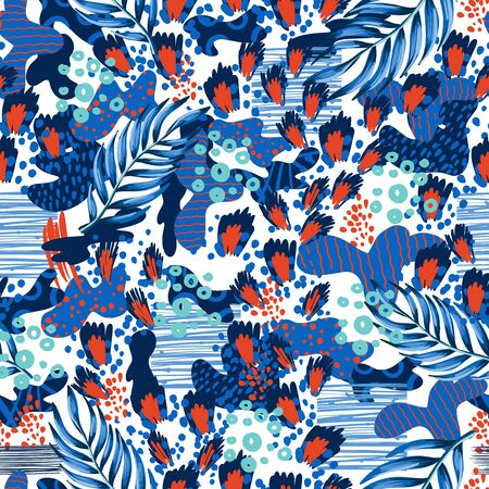Seamless leopard skin pattern with tropical leaves. Vector.