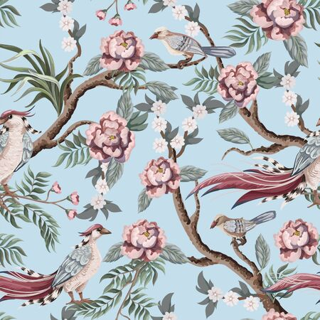 Seamless pattern in chinoiserie style with storks, birds and peonies. Vector, Çizim