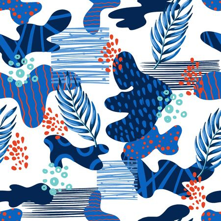 Seamless abstract pattern with tropical leaves. Vector. 矢量图像