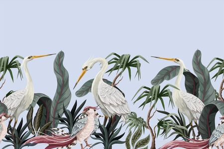 Border in chinoiserie style with storks and peonies. Vector.