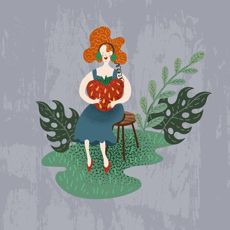 Red-haired girl listens to a music player in the form of strawberries. 矢量图像