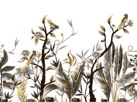 Seamless border with golden and metallic leaves, flowers and birds. Vector. 矢量图像