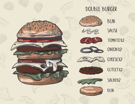 Burger menu with composition of products 矢量图像