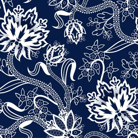 Seamless pattern with Chinese white flowers on blue background. Vector. 矢量图像