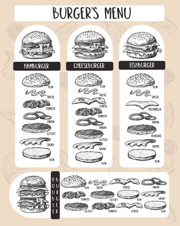 Burger menu with composition of products in graphic style. 矢量图像