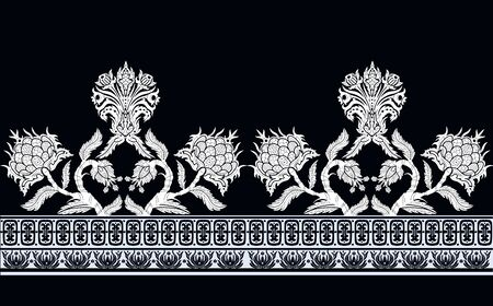 Seamless border with branches flowers in chinoiserie style. 矢量图像