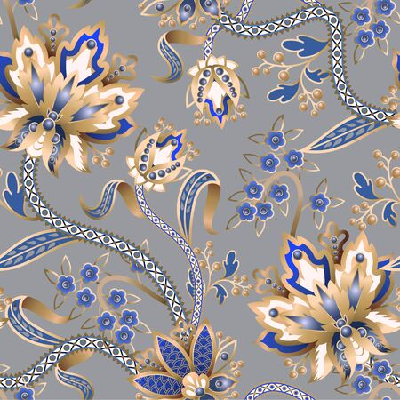 Seamless pattern with Chinese gold flowers. Vector. 矢量图像