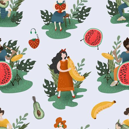Seamless pattern with musicians and fruits. 矢量图像
