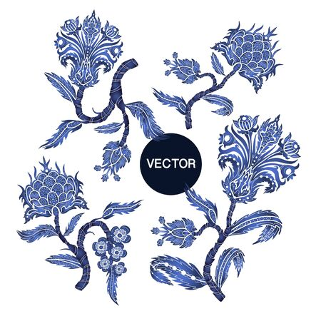 Branches with flowers in chinoiserie style isolated. 矢量图像