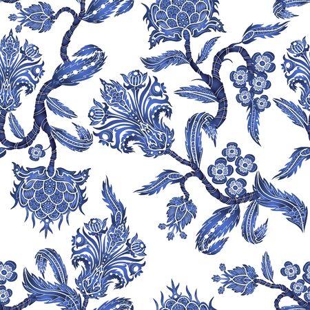 Nahtloses Muster mit Zweigblumen im Chinoiserie-Stil. Japanischer blauer Keramikdruck. Vektorgrafik