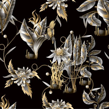 Seamless pattern with golden and metallic leaves, flowers and birds. Vector.
