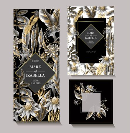 Wedding invitation with golden and metallic leaves, flowers and birds. Vector