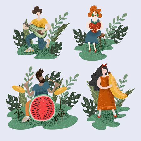 Little people who play musical instruments. Illustration with musicians and fruits.