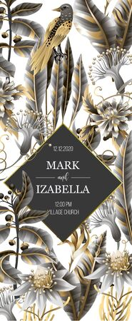 Wedding invitation with golden and metallic leaves, flowers and birds. Vector.