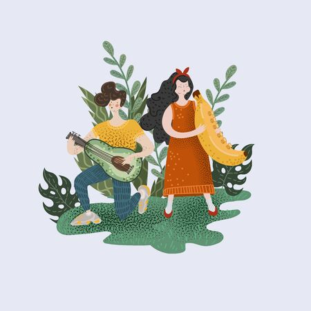 Boy and girl who play musical instruments in form of fruits.