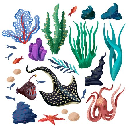 Marine life such as whale, stingray, killer whale, octopus and others isolated.