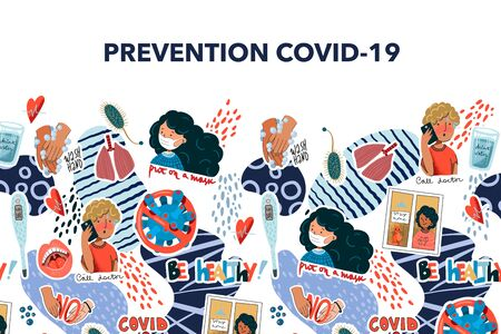 Banner with coronavirus prevention reminder stickers. Vector.