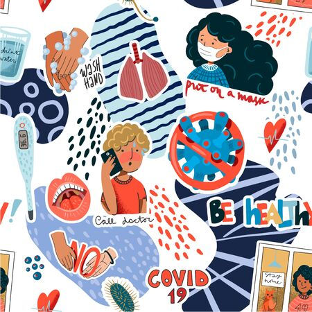 Seamless pattern with coronavirus prevention reminder stickers. Vector. 矢量图像