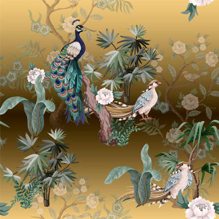 Seamless pattern in chinoiserie style with storks, birds and peonies. Vector, Banco de Imagens