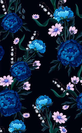 Seamless pattern with blue peonies. Vector. Archivio Fotografico