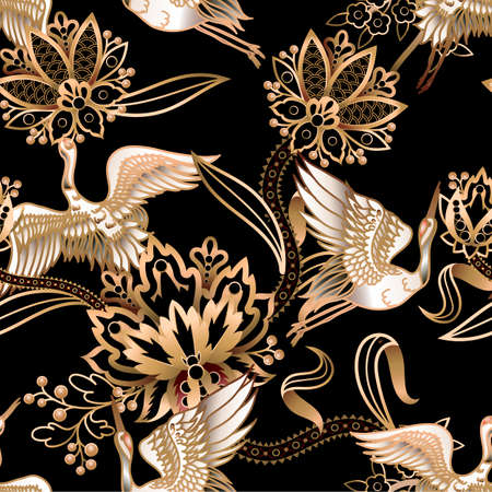 Seamless pattern with Chinese gold cranes and flowers. Vector.